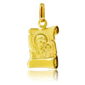 Χρυσό φυλαχτό 9Κ, διακοσμημένο με χαραγμένη απεικόνιση της Παναγίας Βρεφοκρατούσας. Συνδυάστε το με αλυσίδα ή παραμάνα.