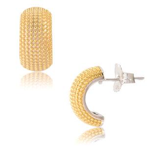 Μοντέρνα σκουλαρίκια με τρουκς, ασημένια 925 επίχρυσα, με επιπλατινωμένο το πίσω τμήμα. Είναι καρφωτά και έχουν ημικυκλικό σχήμα που αγκαλιάζει το αυτί .
