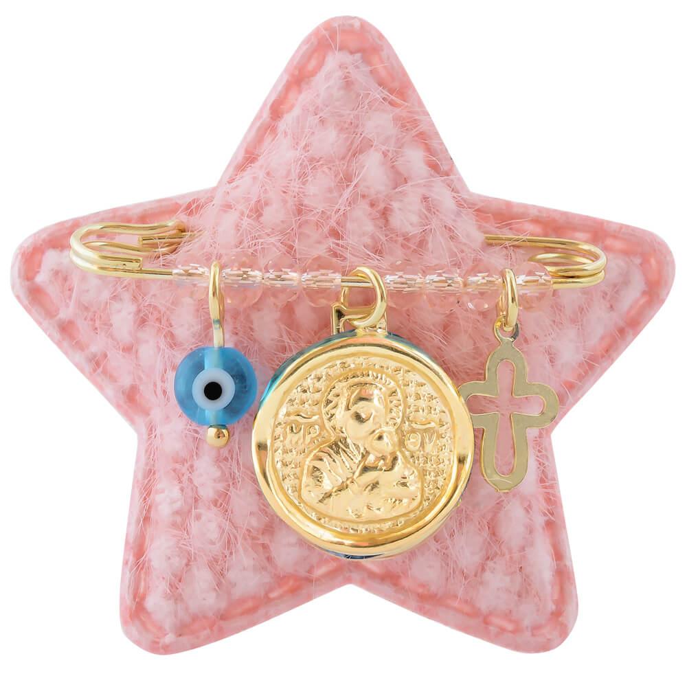 Παραμάνα με Παναγίτσα από ασήμι 925 επίχρυσο, σε ροζ αστεράκι. Η παραμάνα είναι διακοσμημένη με φυλαχτό με την Παναγία, ματάκι, σταυρουδάκι και ροζ πέτρες.