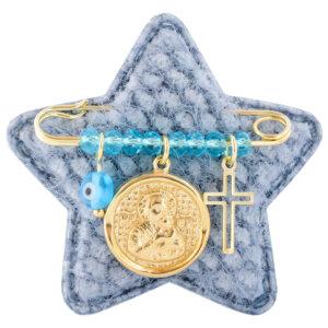 Παραμάνα με Παναγίτσα ασήμι 925 επίχρυσο, σε γαλάζιο αστεράκι. Η παραμάνα είναι διακοσμημένη με φυλαχτό με την Παναγία, ματάκι, σταυρουδάκι και γαλάζιες πέτρες.