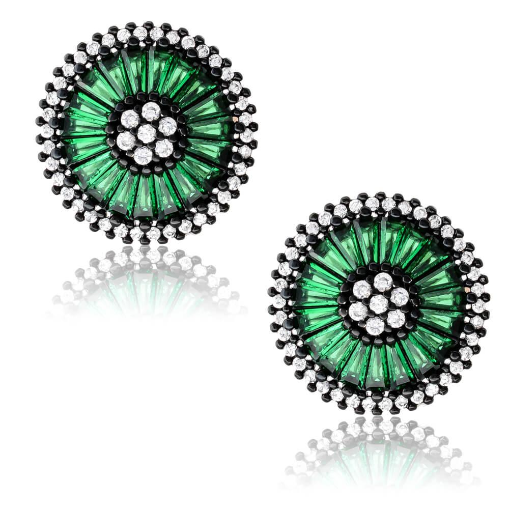 Σκουλαρίκια πράσινα ασημένια 925 επιπλατινωμένα, σε πρωτότυπο σχέδιο, με διάμετρο 1.8 cm. Είναι διακοσμημένα με λευκά και πράσινα ζιργκόν.
