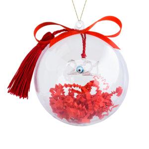 Γούρι 2021 ματάκι ασημένιο 925, κρεμασμένο σε μπορντό φούντα. Περιλαμβάνεται υπέροχη συσκευασία δώρου, διάφανη μπάλα, για να το κρεμάσετε στο δέντρο σας!