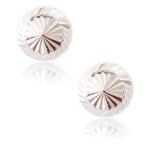 Μπίλιες σκουλαρίκια ασημένια 925 επιπλατινωμένα, με διάμετρο 7 mm και ανάγλυφη επιφάνεια με σκαλιστές λεπτομέρειες.