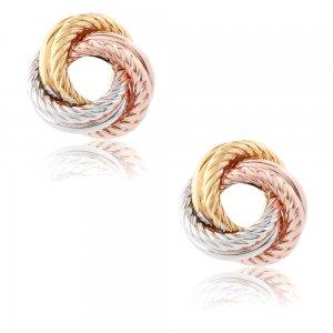 Κόμπος σκουλαρίκια χρυσά 9Κ τρίχρωμα (χρυσός, λευκός χρυσός , ροζ χρυσός), σε λουστρέ φινίρισμα με ανάγλυφα στοιχεία.